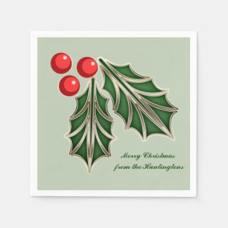 Customizable Christmas paper napkin Holly leaves
