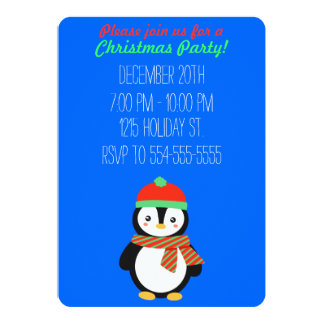 "Customizable Christmas Penguin 5"" X 7"" Invitation Card"