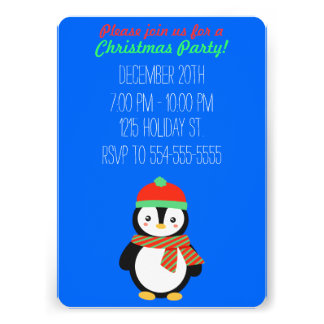 Customizable Christmas Penguin Invitation