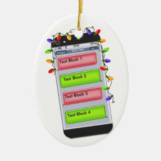 CUSTOMIZABLE Christmas Text Message & Xmas Lights Ceramic Ornament