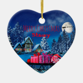 Customizable Christmas Village Heart Ornament