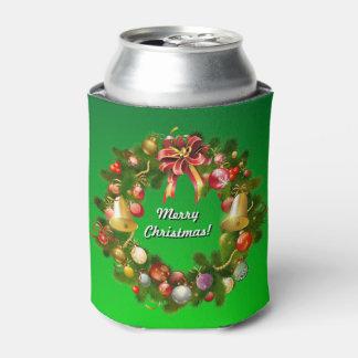 Customizable Christmas Wreath Can Cooler