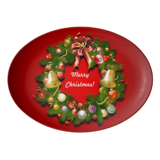 Customizable Christmas Wreath Porcelain Serving Platter