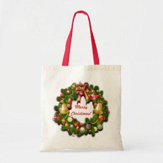Customizable Christmas Wreath Tote Bag