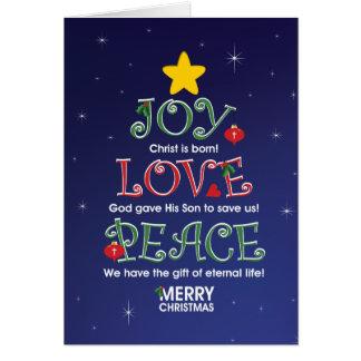 Customizable ChristmasCard  Joy Love and Peace Card