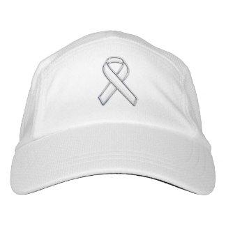Customizable Chrome Like White Ribbon Awareness Hat