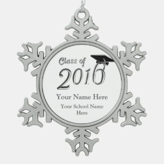 Customizable Class of 2016 Snowflake Pewter Christmas Ornament