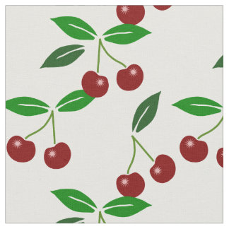 Customizable Classic Cherry Fruit and Leaf Fabric