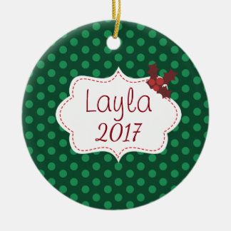 Customizable Classic Christmas with Name and Year Ceramic Ornament