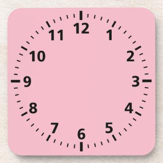 Customizable Clock Pattern On Pink Coaster