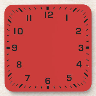 Customizable Clock Pattern On Red Coaster
