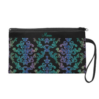 Customizable Color Damask Print Handbag Wristlet Purses