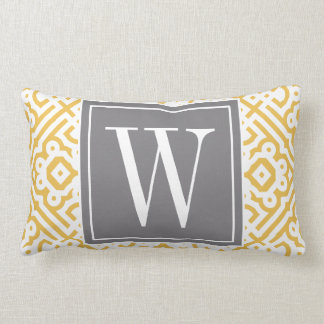 Customizable Color! Modern Labyrinth Monogram Gray Lumbar Pillow