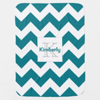 Customizable Color Monogram Chevron Baby Blanket