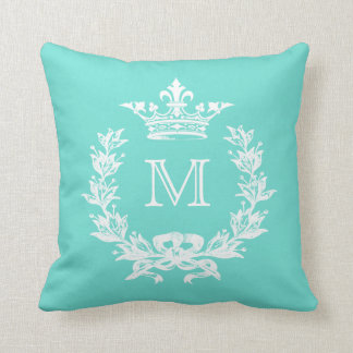 Customizable Color Monogram French Crown Throw Pillow