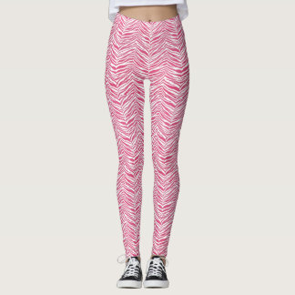 Customizable Color Pink Zebra Yoga Running Workout Leggings