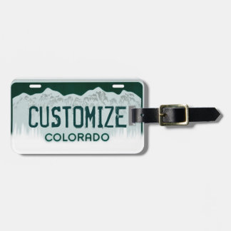 Customizable Colorado license plate luggage tag