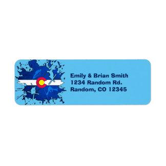 Customizable Colorado ski splatter return labels