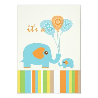 Customizable colorful elephant baby boy shower card