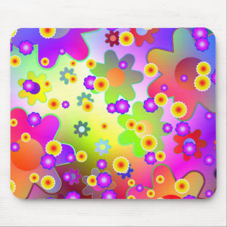 Customizable Colorful Groovy flower pattern Mouse Pad