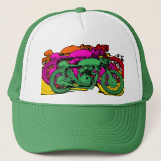 Customizable Colorful Pop Art Motorcycles Trucker Hat