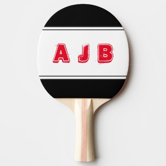 Customizable Colour Monogram Red Stripes Paddle Ping-Pong Paddle