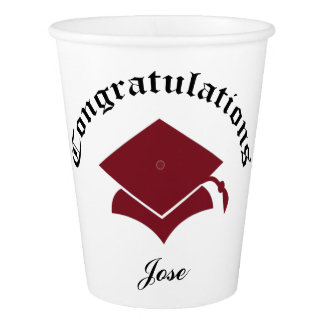 Customizable Congrats Graduation Cups - Maroon Paper Cup