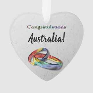 Customizable Congratulations Rainbow Wedding Rings Ornament