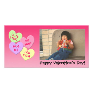 Customizable Conversation Hearts Photo Card