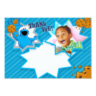 "Customizable Cookie Monster Thank You 3.5"" X 5"" Invitation Card"