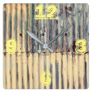 Customizable Corrugated Sheet Metal Square Wall Clock