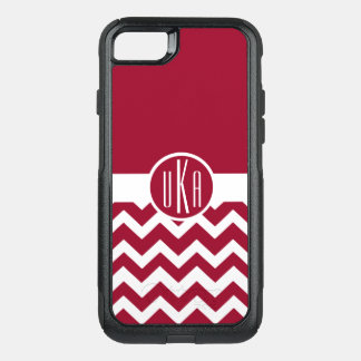 Customizable Crimson and White Monogram OtterBox Commuter iPhone 7 Case