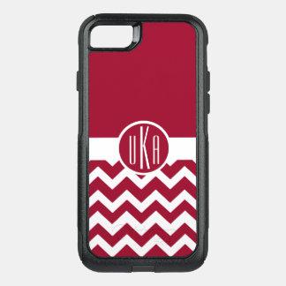 Customizable Crimson and White Monogram OtterBox Commuter iPhone 8/7 Case