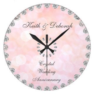 Customizable Crystal Wedding Anniversary Clocks