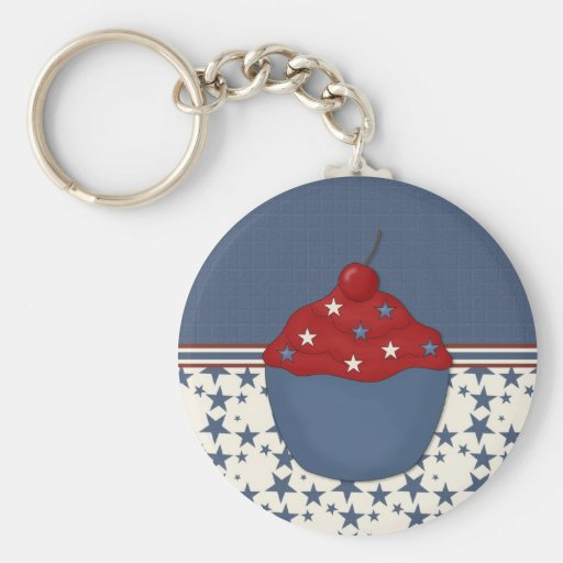 Customizable Cupcake on Blue Stars Keychain