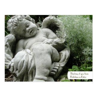 Customizable Cupid in an English Garden Postcard