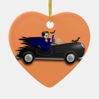 Customizable Cute Dracula Designs Ceramic Heart Ornament