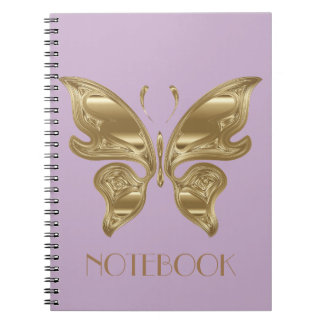 Customizable Cute Gold Spring Butterfly Notebook