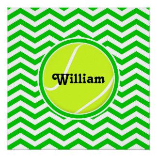 Customizable Cute Green Tennis Ball Poster Perfect Poster