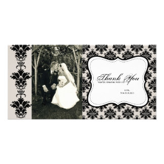 Customizable Damask Photo Thank You Card Photo Greeting Card