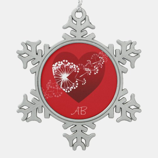 Customizable: Dandelion love heart Pewter Snowflake Ornament