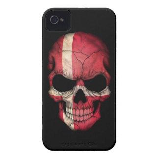 Customizable Danish Flag Skull iPhone 4 Case-Mate Cases