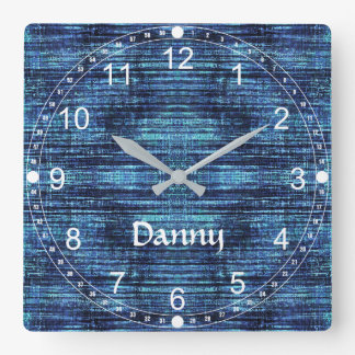 Customizable Danny Denim Pattern Square Wall Clock