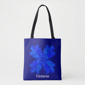 Customizable Dark Blue Tote Bag with Blue Flower