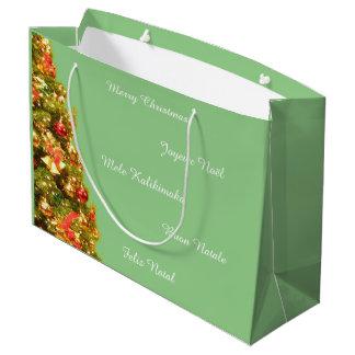 Customizable decorated christmas tree large gift bag