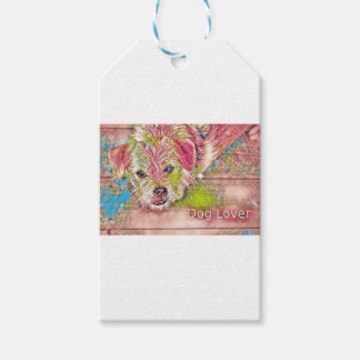 Customizable Design With Digital Drawing Of Dog Gift Tags