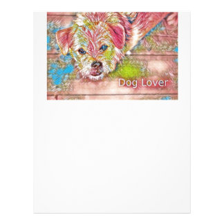 Customizable Design With Digital Drawing Of Dog Letterhead