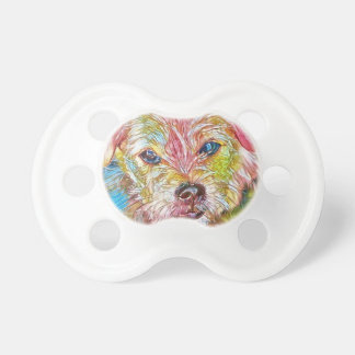 Customizable Design With Digital Drawing Of Dog Pacifier