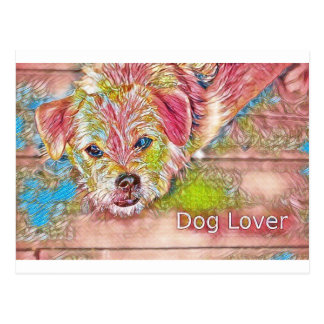 Customizable Design With Digital Drawing Of Dog Postcard