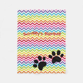 Customizable Dog Name Rainbow Chevron Paw Print Fleece Blanket
